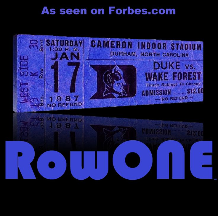 1987 Duke basketball ticket art. Row One Brand: Unique sports art and sports gift ideas. Vintage ticket art and ticket gifts made from 3,000 historic sports tickets. #gifts #giftideas #sports #Duke #basketball