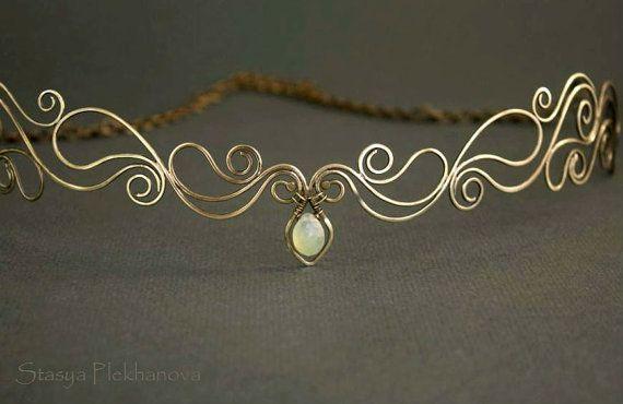 Elven tiara, Chalcedony tiara, Wire wrapped tiara, Elven diadem
