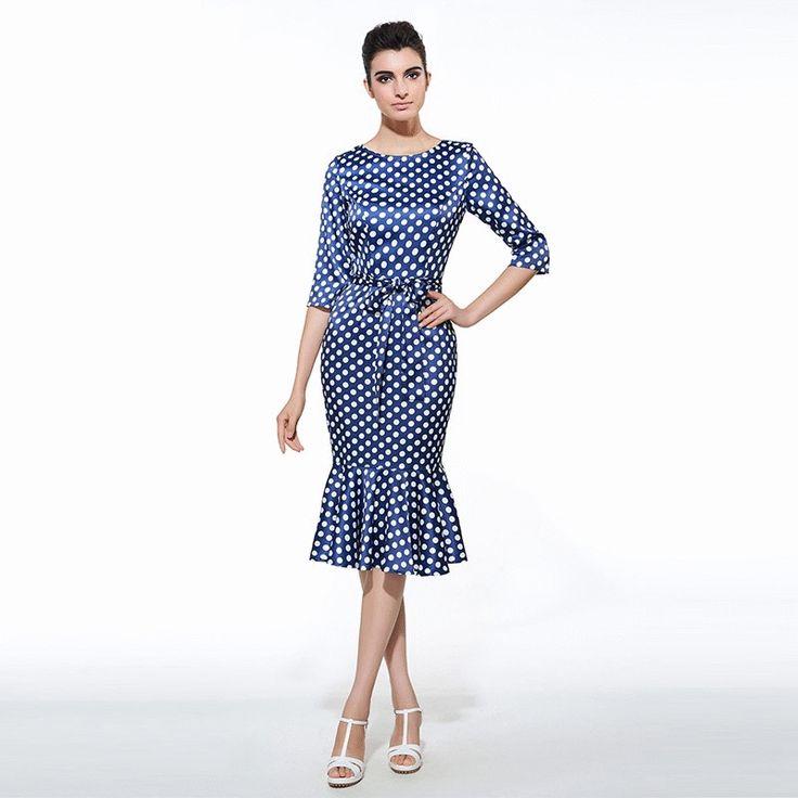 Women's Dress Office Business Polka Dot Mermaid Style with Sash