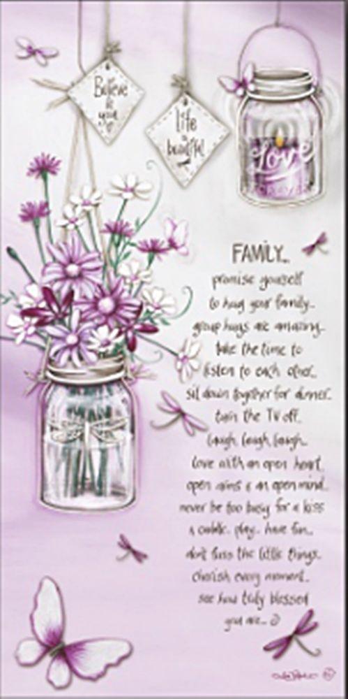 FAMILY 60cm canvas w/ affirmation lantern lights up LED Positive cherish home