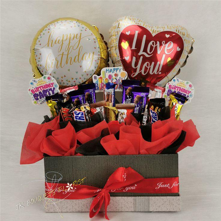 Chocolate balloon flower gift box 8 happy birthday