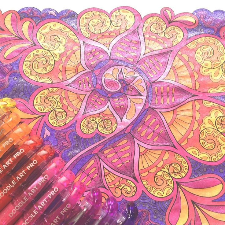 "Mental Images Coloring Books (@paivivesala_art) on Instagram: ""Finished the testing page with @doodleartprofessional gel pens. The best gel pens e-ver! Gel is…"""