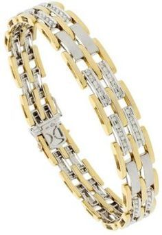 mens gold bracelets with diamonds - Google Search