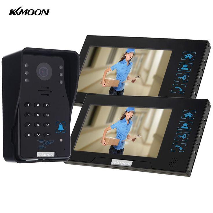 "KKmoon 7 ""TFT LCD Video Telefon Drzwi Dzwonek Domofon ID Odblokowania 2 Monitor + 1 1000TVL IR Night Vision Camera Wodoszczelna"