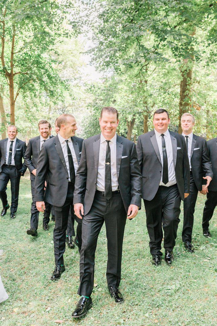 Classic wedding style, groomsmen fashion, black-tie, black suites, patent leather shoes // Ashley Errington Photography