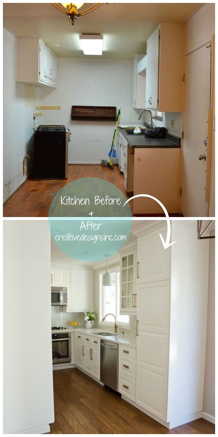 Before & After Kitchen IKEA cabinets with extra touches make this kitchen beautiful.  You won't see any outlets--they are underneath the cabinets.  LOVE