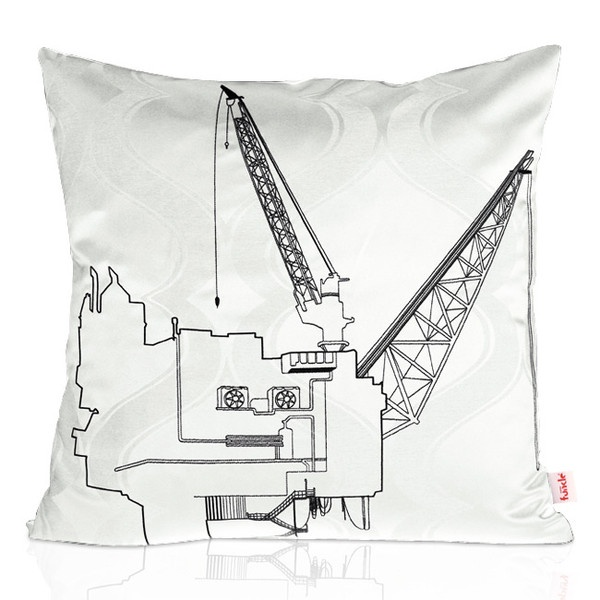 White textile with design embroidered in black thread - black backside. MADE IN NORWAY - Limited edition, 44 x 44 cm.