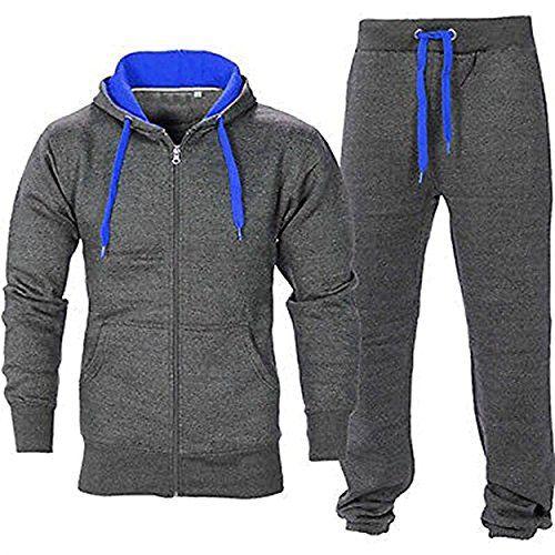 Juicy Trendz Mens Athletic Long Selves Fleece Full zip Gym Tracksuit Jogging Set Active wear Charcoal/Blue XL