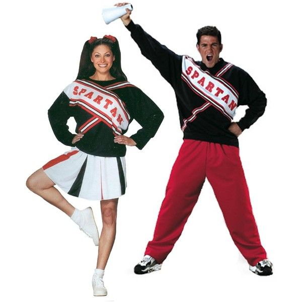 Adult SNL Spartan Cheerleaders Couples Costume - One-Size ($60) ❤ liked on Polyvore featuring costumes, halloween costumes, couples costumes, adult couple costumes, stitch costume, white costume and adult halloween costumes