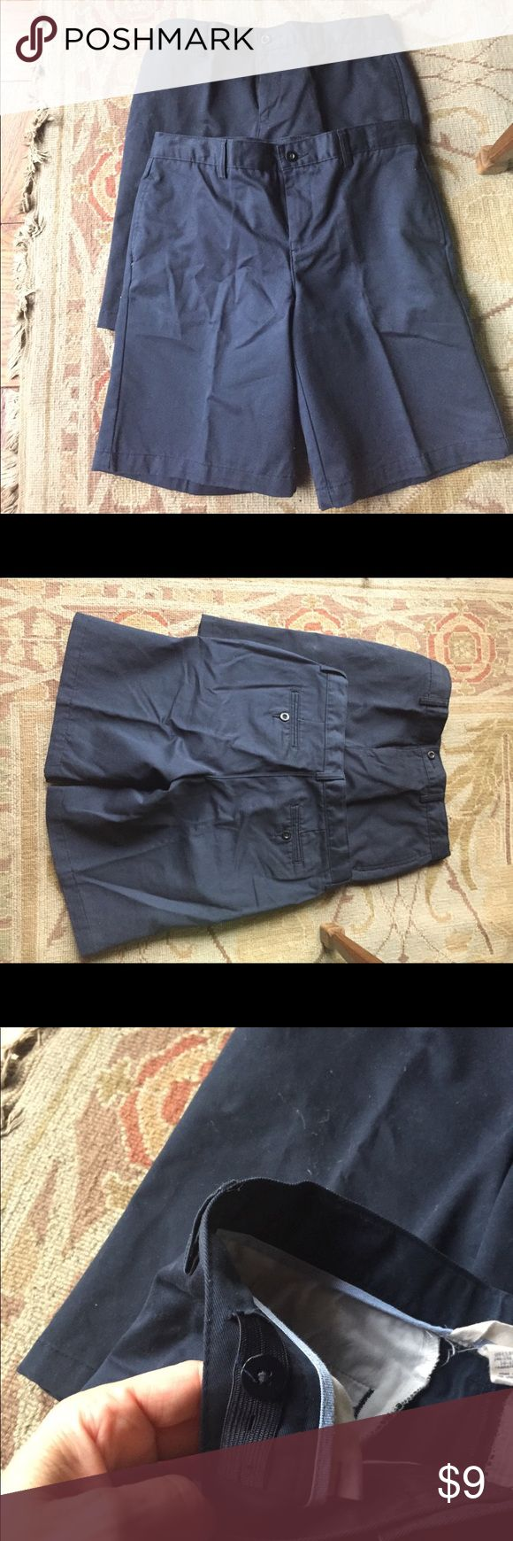 2 Pairs Lands End Uniform Shorts Husky Size New without tags.  Navy Blue.  10-12 Husky. Lands' End Bottoms Shorts