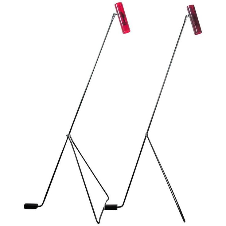 Pair of Mid-Century Modern Red Floor Lamps Attributed to Alf Svensson | From a unique collection of antique and modern floor lamps at https://www.1stdibs.com/furniture/lighting/floor-lamps/