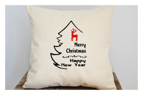 Embroidered Christmas Tree  Christmas pillow cover by KoTshop