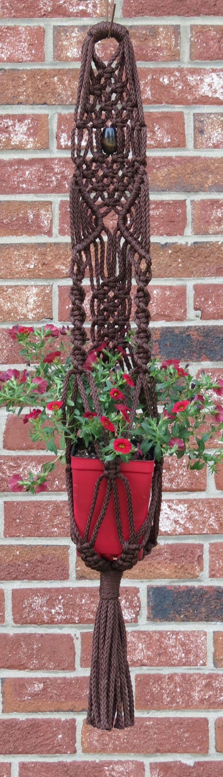 BROWN plant holder, macrame plant hanger, hanging planter, pot holder, small…