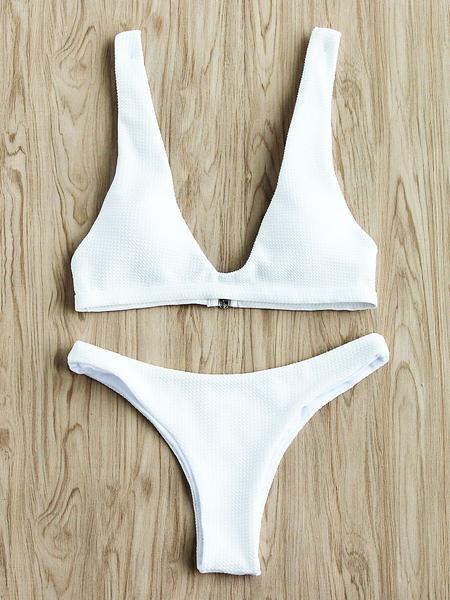 White Sexy Triangle Textured Bikini Set