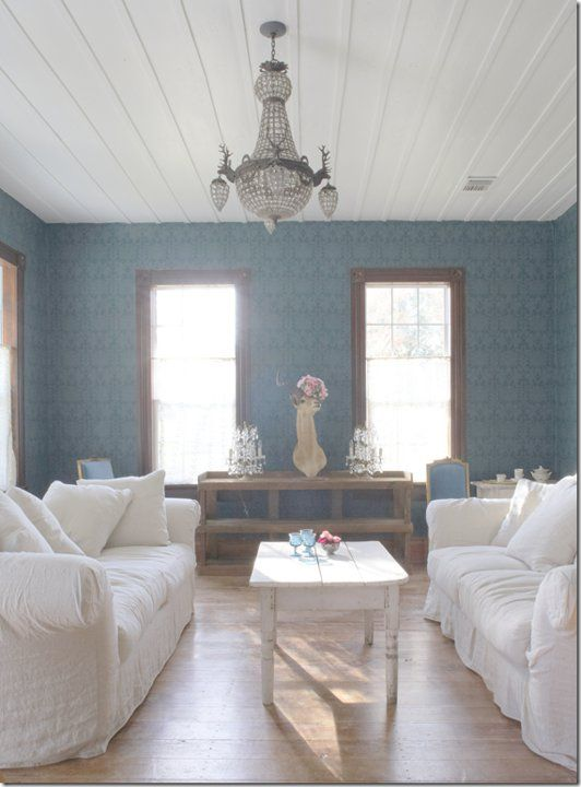 Gorgeous Teal Peacock Blue Wallpaper, With Simple, White And Natural  Furniture. Part 76