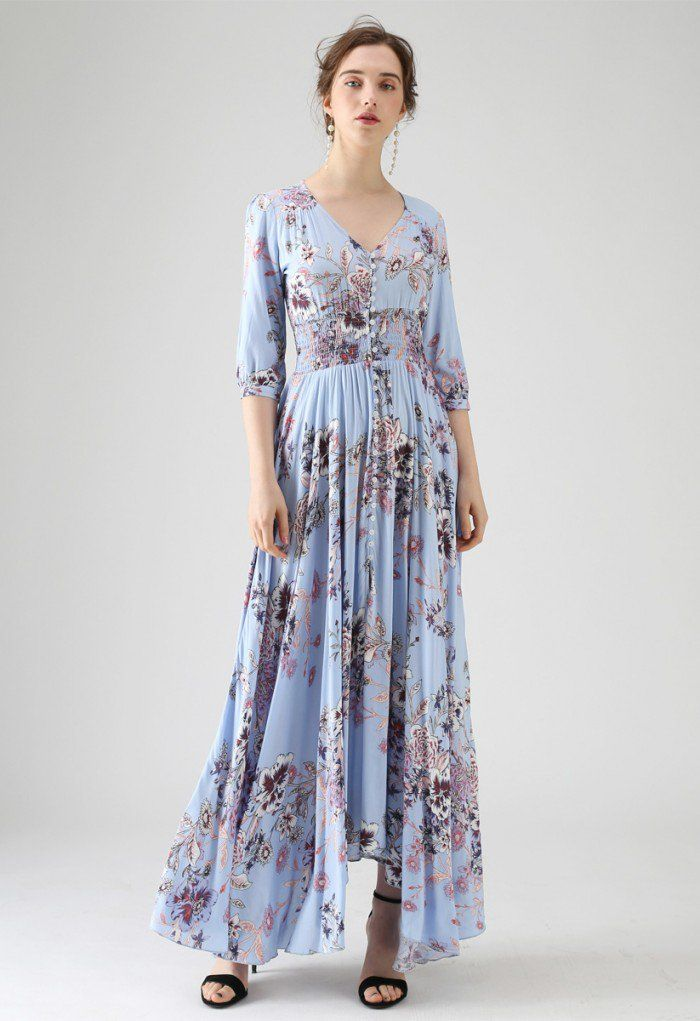 249876b8f266a0 Forever Fave Floral Maxi Dress in Blue - DRESS - Retro