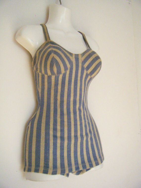 mid 1940s JANTZEN pin up BATHING SUIT wool boucle swimsuit, circus striped swimming costume, size m