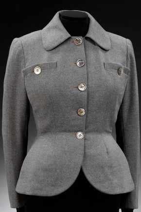 Dior The New Look 1947      'The New Look' jacket by Christian Dior, wool flannel, 1947, Paris, Museum no. T.109-1982  Dior launched his couture house on 12 February 1947 and became an overnight sensation.