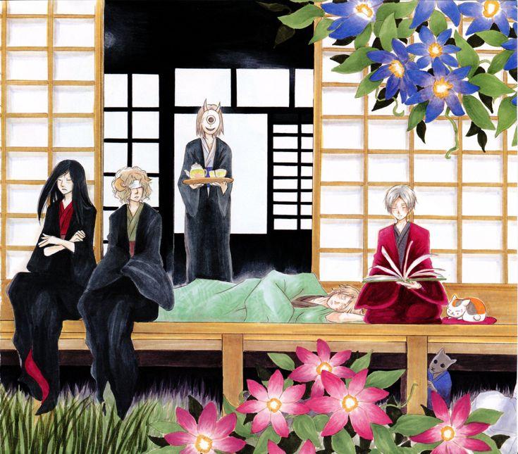 From left to right: Natsume Yuujinchou's Urihime, Sasago, Hiiragi, Shuuichi Natori, Natsume Takashi & Nyanko-sensei | Brain's Base | Yuki Midorikawa