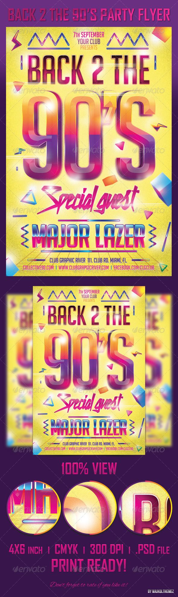 90's fashion, 90's flashback, 90's music, 90's party, 90's style, blue, gradient, magenta, majkol, party flyer, yellow