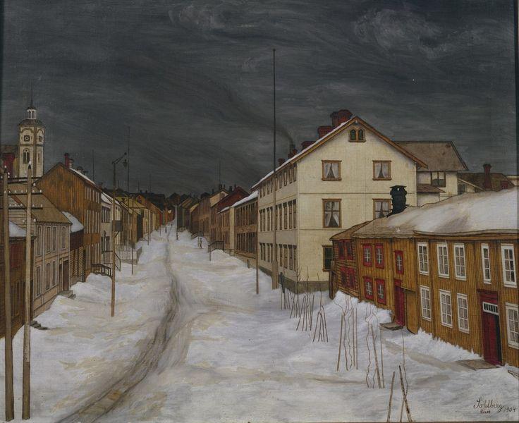 """Harald Sohlberg, """"Mainstreet, Roros"""" (1904)"""