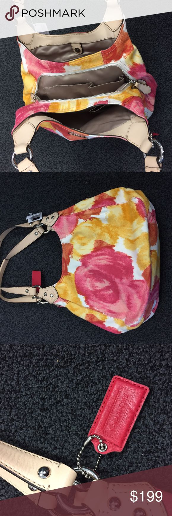 Coach Ashley Floral Print Hobo Bag Beautiful, authentic Coach hobo bag with one-of-a-kind floral print.  New with tags, never been used. There is a slight scuff on the bottom of one of the handles (see last photo). Coach Bags Hobos
