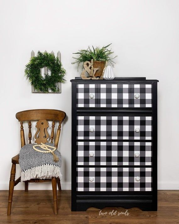 Vintage Modern Farmhouse Buffalo Plaid Wood Tall Dresser Boho Etsy Painted Furniture White Painted Furniture Wooden Drawers