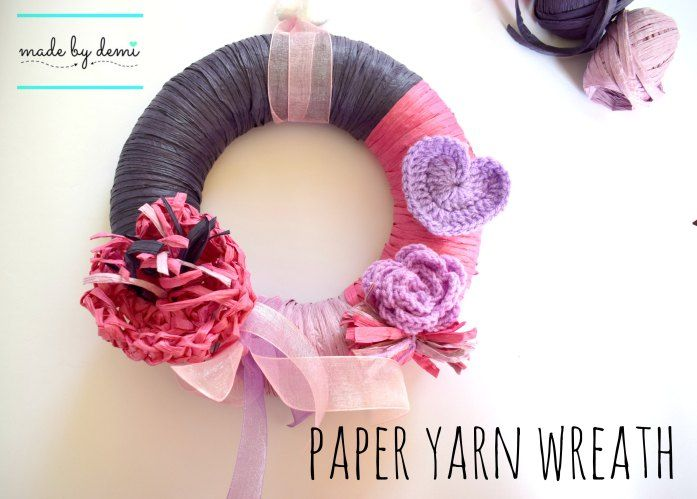 paper yarn wreath | quick and fun project | made by demi