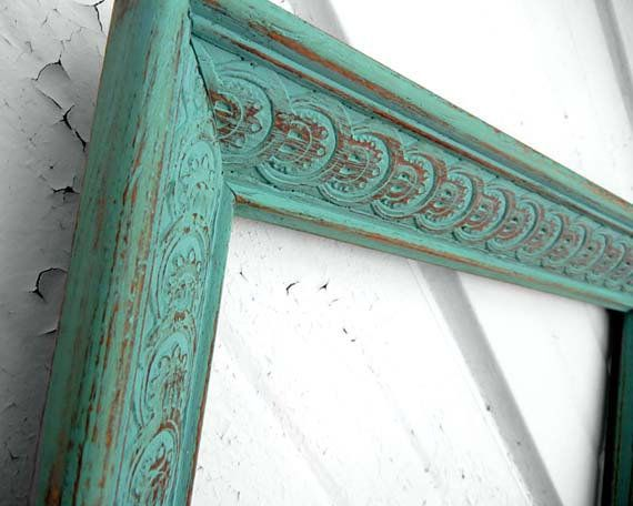 12x18 FRAME Painted Aqua Mint Turquoise Wood by TheDustyNook from TheDustyNook on Etsy