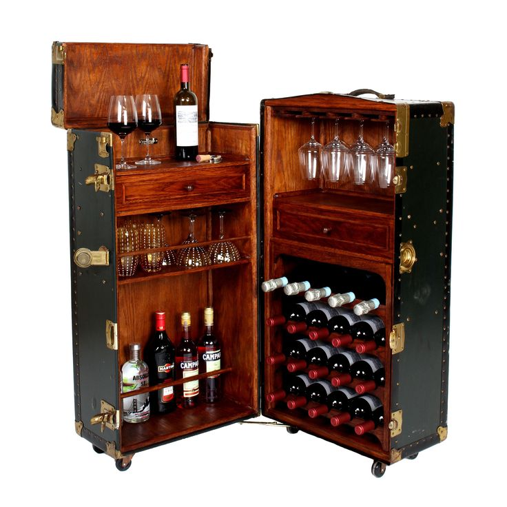 Vintage Steamer Trunk Bar Cabinet on Chairish.com