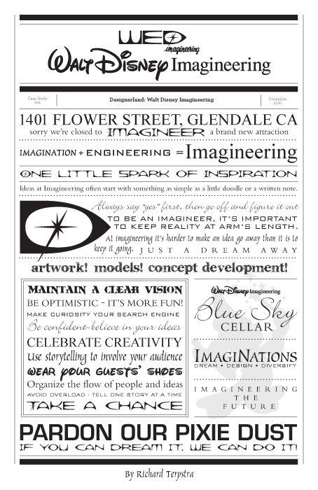 Walt Disney Imagineering Typography by Richard Terpstra.  Would be sooo cute as background paper in scrapbook!