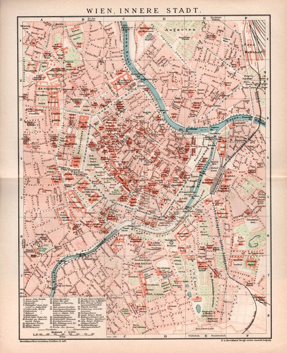 1898 Vienna City Map Antique City Plan Vintage by Craftissimo
