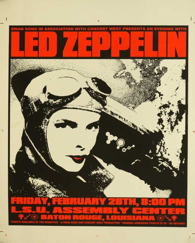 "Lot 104- Led Zeppelin Original Printers Proof Concert Poster, Uncut, 2/28/75, Baton Rouge, LA, Excellent Condition Silkscreen Poster, Sheet Size: 26"" x 20"""