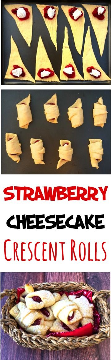 Strawberry Cheesecake Recipe!  These Strawberry Cheesecake Crescent Rolls are so easy to make and absolutely delicious!  What could be yummier than strawberry and cream cheese wrapped up in a warm buttery crescent roll?