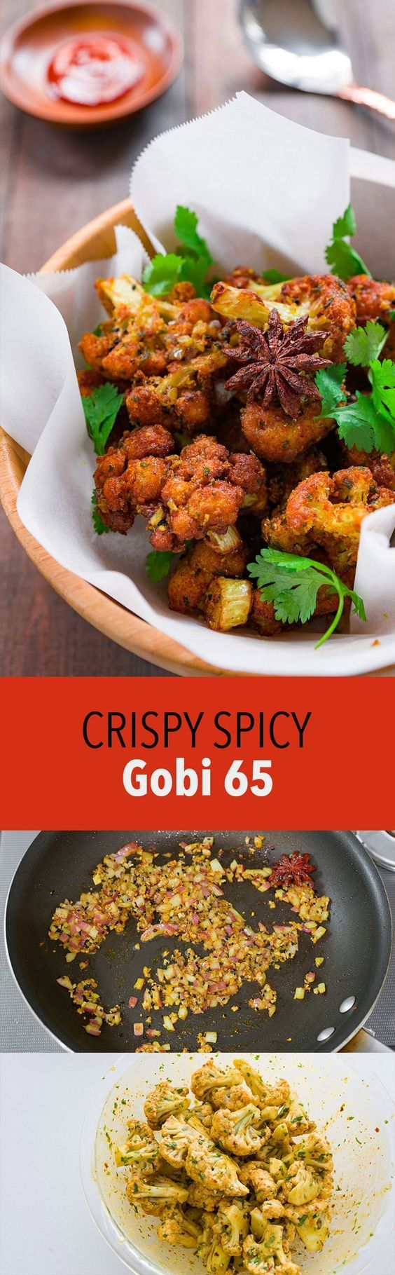 Gobi 65 (Cauliflower 65) is the consummate bar-snack of Chennai with crisp florets of cauliflower tossed with tempered spices and aromatics.