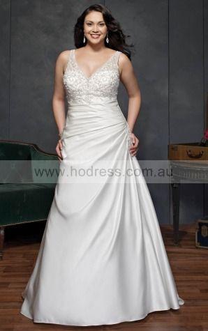 Lace-up A-line Empire V-neck Wedding Dresses hdcf1103--Hodress