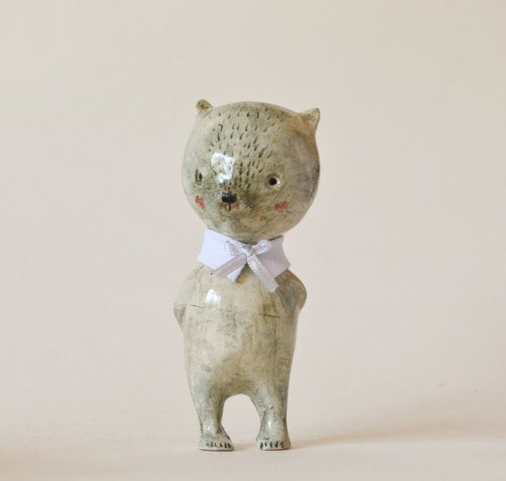 Bear Ceramic Figurine Doll animal Antonio clay art doll by holli