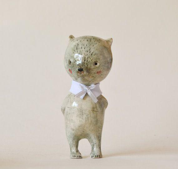Bear Ceramic Figurine Doll animal Antonio clay art doll by holli