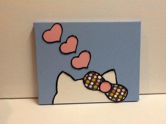 Hello Kitty Children's Wall Art  polka dot bow  by paintingsbyjane  DIY idea