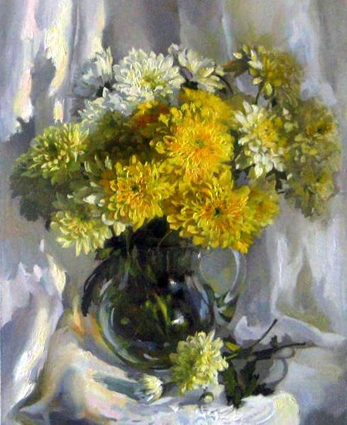 Catherine Kalinovskaja — Chrysanthemums, 2011 (676×828)