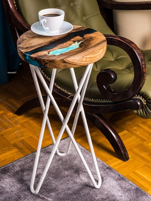 Round Live Edge River Bedside Coffee End Table With Resin And Glowing Resin Table Wood Table Diy Resin Table Wood Resin Table