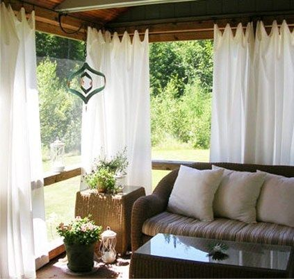 Screened Porch...love the light and airy curtains that puddle on the floor; paint concrete; use combo windows not just screens; put skylights in ceiling so not so dark inside porch