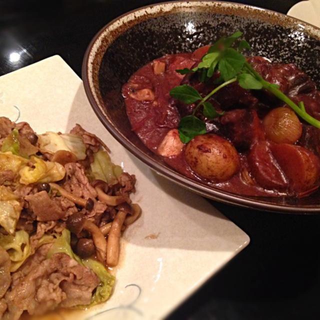 酸味と旨味が同居していて、シェリーはもちろんモダンでしっかりした日本酒にも合います♪ - 11件のもぐもぐ - 牛すね肉のじっくり赤ワイン煮込み、キャベツと豚バラのバルサミコ炒め by maukoryouribar