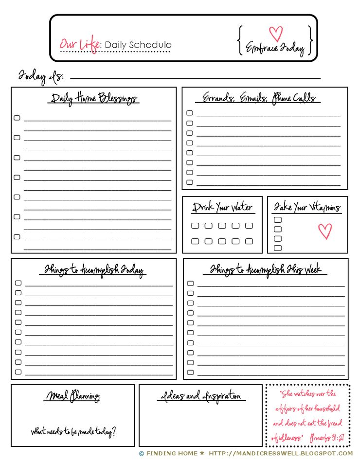 Daily Schedule. DIY organizing, scheduling, planning and keeping your home & life in order.