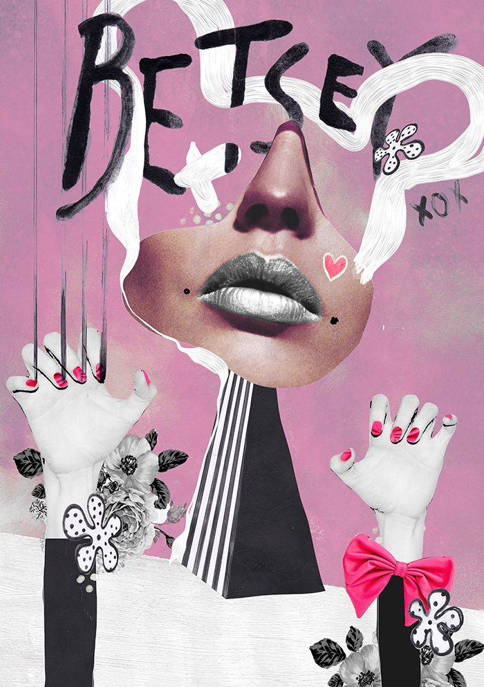 Mixed Media Fashion Collage by Rebecca Coltorti | Betsey Johnson Inspired