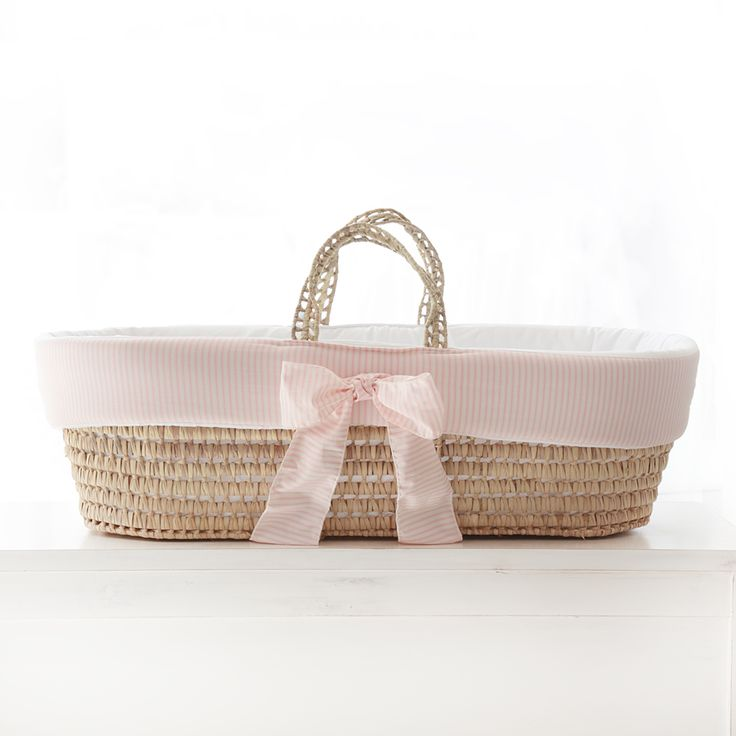 Moses Basket In Pink Stripes