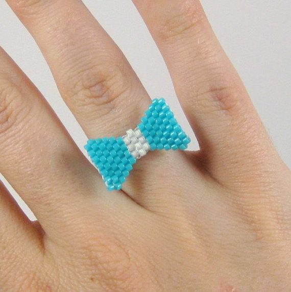 #Handmade #Turquoise Bead Woven #Bow Ring Size 6 by maemaemills on Etsy