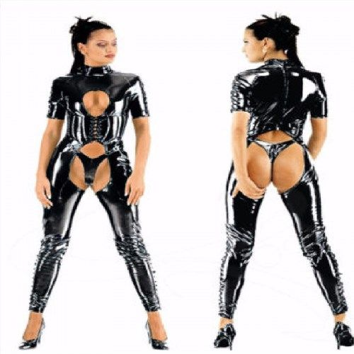 89.00$  Buy here - http://viyle.justgood.pw/vig/item.php?t=6ipk1q16635 - PVC Catsuit 16 - 36 Bodysuit Glossy Wet Look Lace Front Jumpsuit Plus Size BBW 89.00$