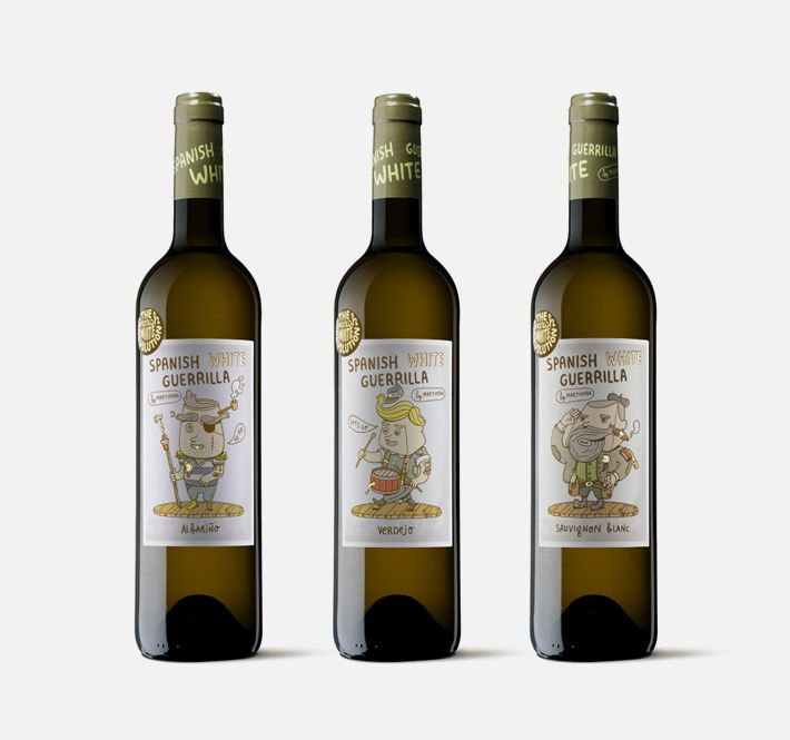 spanish white guerrilla - moruba  Line of packaging for the revolutionary white wines of Castillo de Maetierra