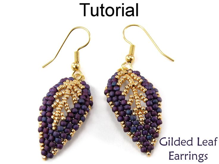 Beading Tutorial Pattern Beaded Earrings - Diagonal Peyote Stitch Russian Leaf - Simple Bead Patterns - Gilded Leaf Earrings #9523 by SimpleBeadPatterns on Etsy https://www.etsy.com/listing/201063318/beading-tutorial-pattern-beaded-earrings